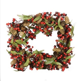 """20"""" Red and Black Berry and Pine Cone Artificial Christmas Wreath - Unlit"""