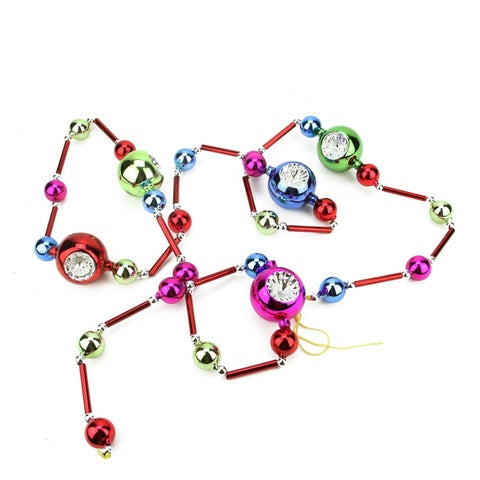 "81"" Decorative Multi-Color Glass Bead and Retro Reflector Ornament Christmas Garland"