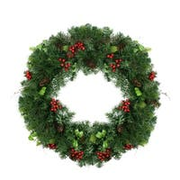 "29"" Mixed Pine with Red Berries and Pine Cones Artificial Christmas Wreath - Unlit"