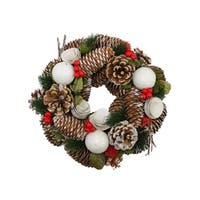 """10"""" Frosted Pine Cone, Twigs and Berries Artificial Christmas Wreath - Unlit"""
