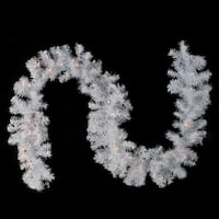 "9' x 12"" Pre-Lit White Crystal Spruce Artificial Christmas Garland - Clear Dura Lights"