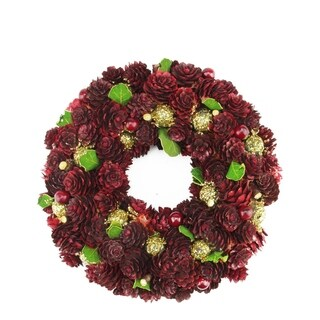 """9.5"""" Wine Burgundy and Gold Glitter Pine Cone Artificial Christmas Wreath - Unlit"""