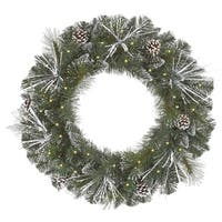 "24"" Pre-Lit Flocked and Glittered Mixed Pine Christmas Wreath - Clear Lights"