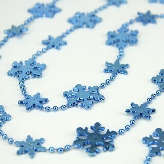 "Shiny Metallic Blue Snowflake Beaded Christmas Garland 8' x 1.25"""