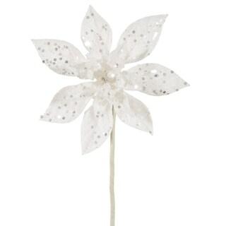 "11"" White Glitter Poinsettia Flower Artificial Christmas Spray Pick"