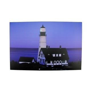 "LED Lighted Dusk Lighthouse Seaside Scene Canvas Wall Art 15.75"" x 23.75"""