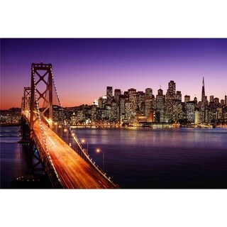 "LED Lighted Famous San Francisco Oakland Bay Bridge Canvas Wall Art 15.75"" x 23.5"""