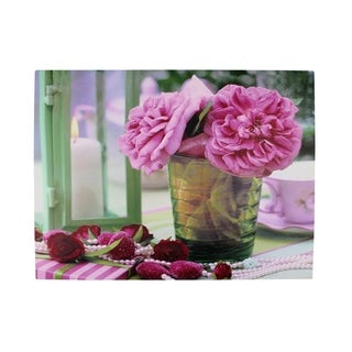"LED Lighted Flickering Candle and Pink Rose Flowers Glass Candles Canvas Wall Art 11.75"" x 15.75"""