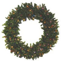 "24"" Battery Operated Canadian Pine Pre-Lit LED Christmas Wreath - Multi Lights"