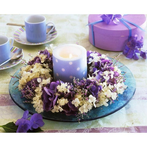 """LED Lighted Polka Dot Candle in a Hydrangea Candle Ring Canvas Wall Art 11.75"""" x 15.75"""""""