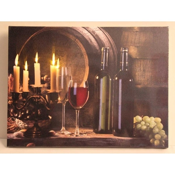 "LED Lighted Flickering Candles and Wine Canvas Wall Art 11.75"" x 15.75"""