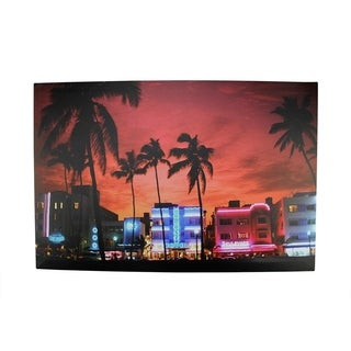 """LED Lighted Famous South Beach Miami Florida Nightlife Scene Canvas Wall Art 15.75"""" x 23.5"""""""