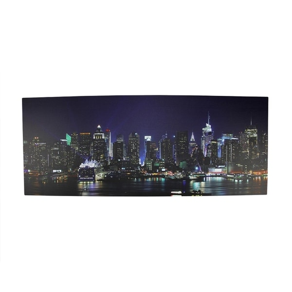 New York Nyc Skyline City Single Canvas Wall Art Picture: Shop LED Lighted NYC New York City Skyline Canvas Wall Art
