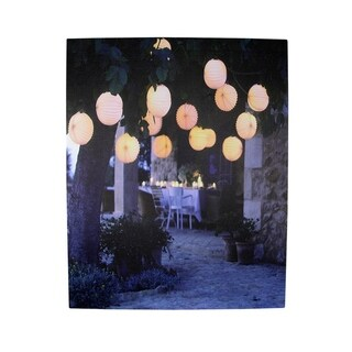 "LED Lighted Flickering Garden Party Chinese Lanterns Canvas Wall Art 11.75"" x 15.75"""