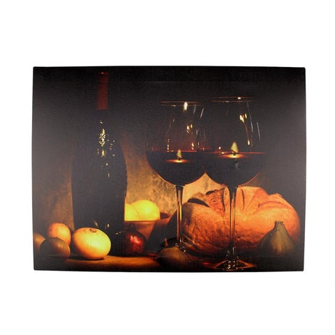 """LED Lighted Flickering Wine Bread and Candles Canvas Wall Art 11.75"""" x 15.75"""""""