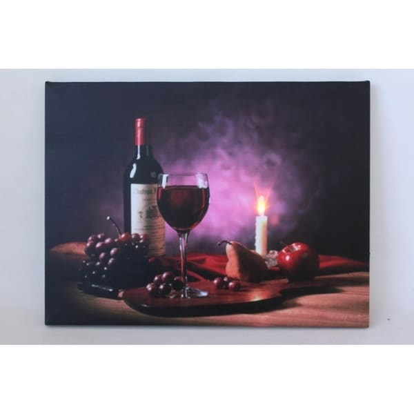 Shop LED Lighted Flickering Wine Fruit and Candle Canvas ...