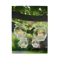 "LED Lighted Flickering Garden Party Hanging Glass Candles Canvas Wall Art 15.75"" x 12"""