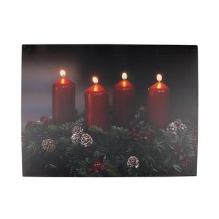 "LED Lighted Flickering Candle Wreath Christmas Canvas Wall Art 12"" x 15.75"""