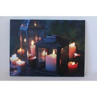"LED Lighted Flickering Garden Lantern Candles Scene Canvas Wall Art 11.75"" x 15.75"""