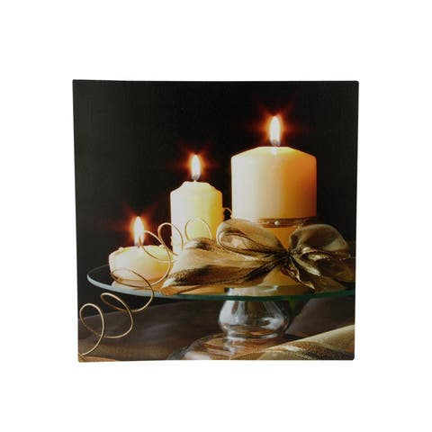 """LED Lighted Flickering Candles with Ribbon Canvas Wall Art 12"""" x 12"""""""