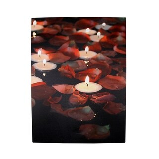 """LED Lighted Flickering Garden Party Floating Candles with Rose Petals Canvas Wall Art 15.75"""" x 11.75"""""""