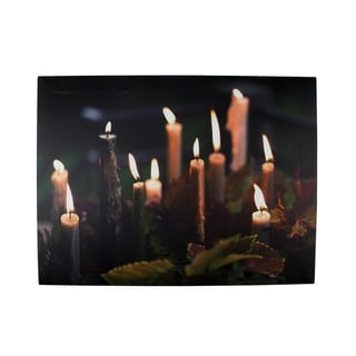 "LED Lighted Flickering Candles with Fall Leaves Canvas Wall Art 11.75"" x 15.75"""