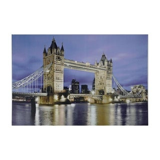 "LED Lighted Famous London Bridge Canvas Wall Art 15.75"" x 23.5"""