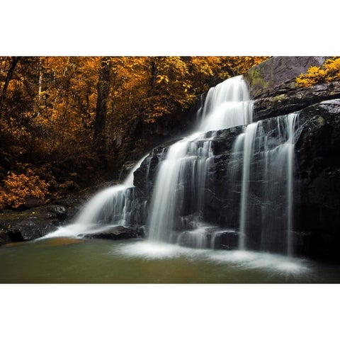 "Natures Woods Autumn Waterfall Scene Canvas Wall Art 15.75"" x 23.5"""