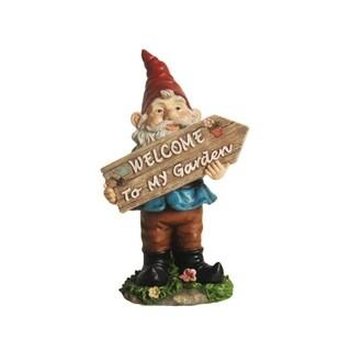"15"" Bobble Gnome Holding ""Welcome To My Garden"" Sign Outdoor Patio Garden Statue"