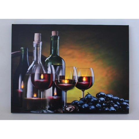 """LED Lighted Flickering Wine Grapes and Candles Canvas Wall Art 11.75"""" x 15.75"""""""