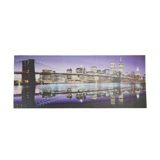 "LED Lighted Famous New York City Brooklyn Bridge Skyline Canvas Wall Art 15.75"" x 39.25"""