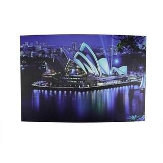 "LED Lighted Famous Sydney Opera House Australia Canvas Wall Art 15.75"" x 23.5"""