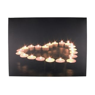 """LED Lighted Flickering Heart-Shaped Candles Canvas Wall Art 11.75"""" x 15.75"""""""