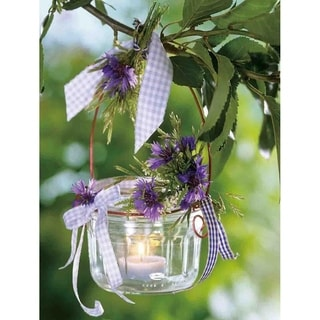 "LED Lighted Tea Candle with Purple Flowers Canvas Wall Art 15.75"" x 11.75"""