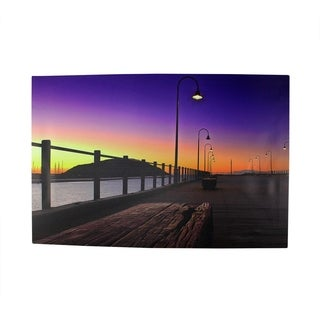 "LED Lighted Sunset Boardwalk Scene Canvas Wall Art 15.75"" x 23.75"""