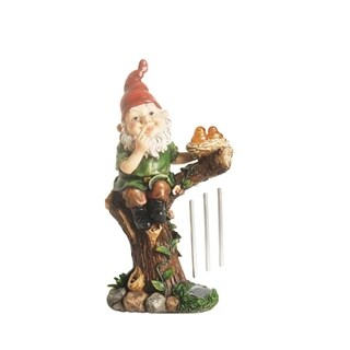 """15.75"""" Forest Gnome w/ Solar Powered LED Lighted Birds Outdoor Patio Garden Wind Chime Statue"""