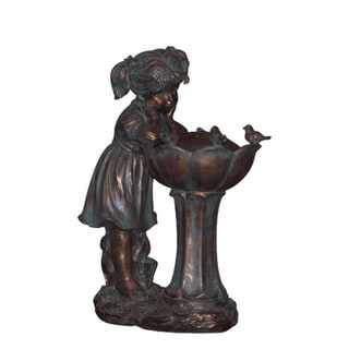 "25.5"" Bird Gazing Girl Weathered Copper Inspired Outdoor Patio Garden Water Fountain"
