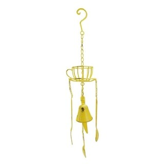 "23.25"" Yellow Cafe Themed Hanging Outdoor Garden Wind Chime Decoration"