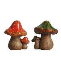 Set of 2 Green and Orange Mottled Double Mushroom Outdoor Garden Patio Statue 11""