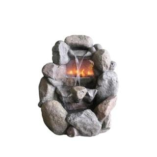 Stone Grey Faux Rock 28-inch Fireplace Waterfall Outdoor Patio/Garden Water Fountain