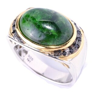 Michael Valitutti Palladium Silver Chrome Diopside & Black Spinel Men's Ring