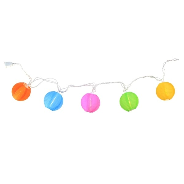 Set Of 10 Multi Color Round Chinese Lantern Patio And Garden Novelty  Christmas Lights