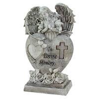 "10"" Religious ""In Loving Memory"" Praying Bereavement Angel Solar Powered Outdoor Garden Statue"