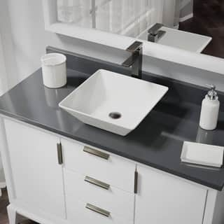 R2-5010-B-R9-7003 Biscuit Porcelain Vessel Sink with Vessel Faucet and Vessel Pop-Up Drain