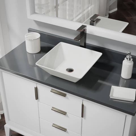 R2-5010-B-R9-7003 Biscuit Porcelain Vessel Sink with Vessel Faucet and Vessel Pop-Up Drain