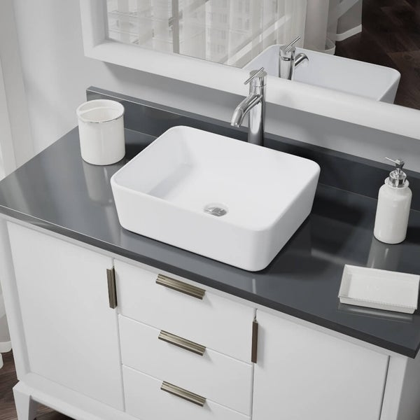 R2-5007-W-R9-7001 White Porcelain Vessel Sink with Vessel Faucet and Vessel Pop-Up Drain. Opens flyout.