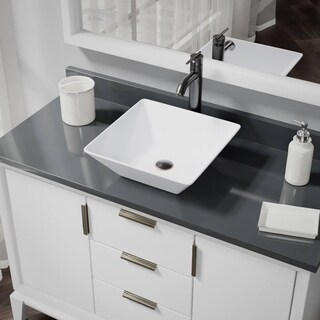 R2-5010-W-R9-7001 White Porcelain Vessel Sink with Vessel Faucet and Vessel Pop-Up Drain