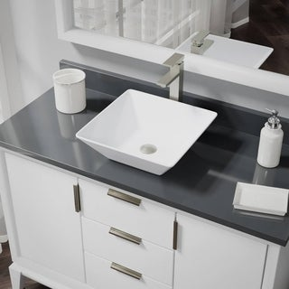 R2-5010-W-R9-7003 White Porcelain Vessel Sink with Vessel Faucet and Vessel Pop-Up Drain