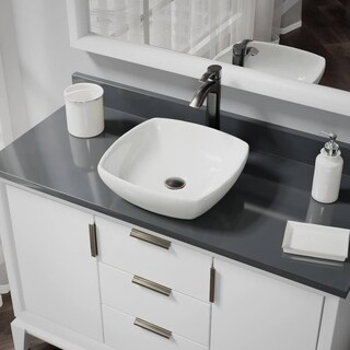 R2-5011-B-R9-7006 Biscuit Porcelain Vessel Sink with Vessel Faucet and Vessel Pop-Up Drain