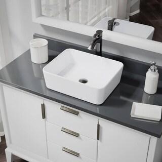 R2-5007-W-R9-7006 White Porcelain Vessel Sink with Vessel Faucet and Vessel Pop-Up Drain